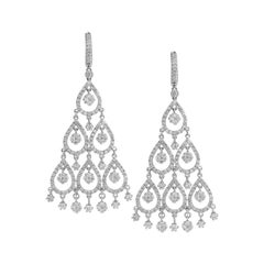 Diamond Chandelier Earrings in White Gold