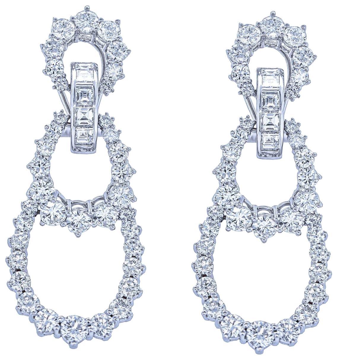 Diamond Chandelier Earrings in White Gold