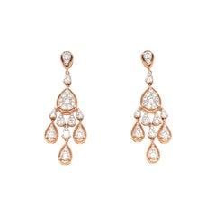 Diamond Chandelier Earrings Rose and White Gold