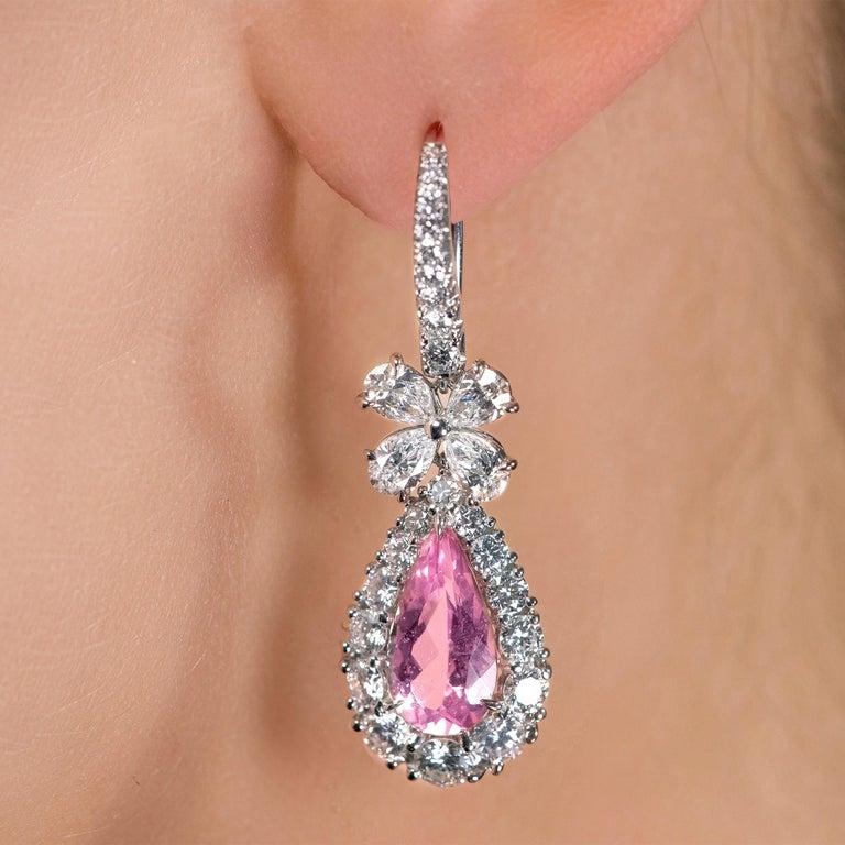 Custom made drop earrings featuring natural morganites