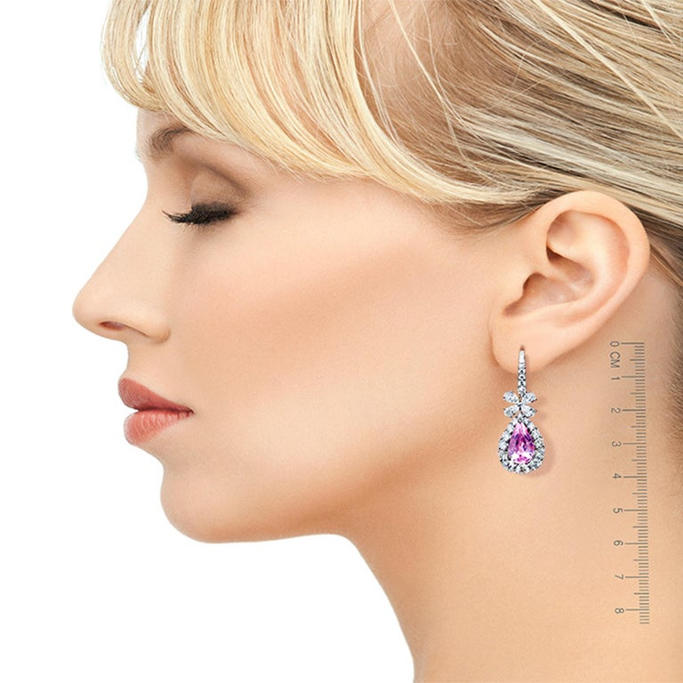 Contemporary Leon Mege Diamond Chandelier Earrings with Natural Pear-shape Pink Morganites  For Sale