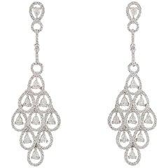 Diamond Chandelier Motif Diamond Drop Earrings 7.30 Carat