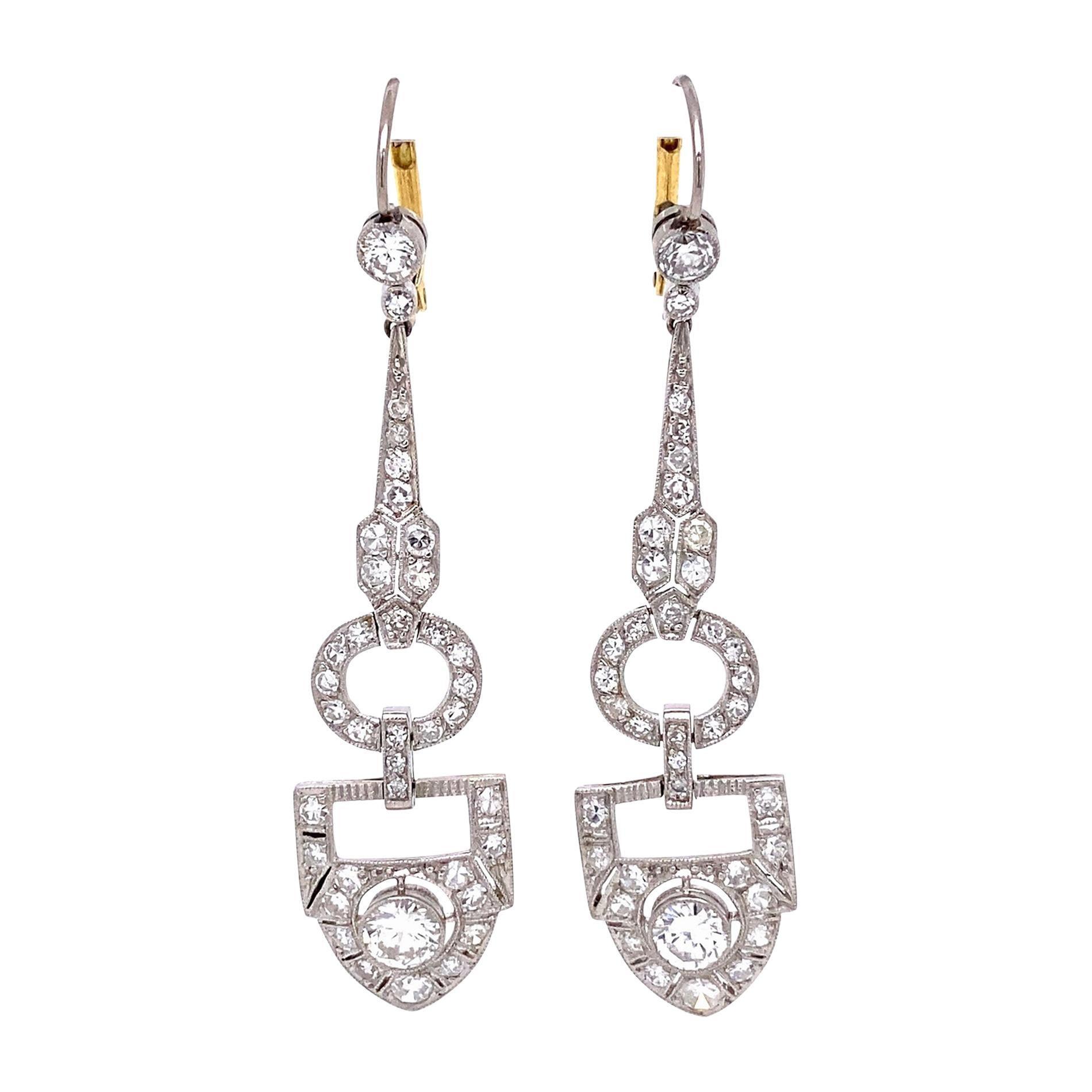 Diamond Chandelier Platinum Art Deco Revival Drop Earrings Estate Fine Jewelry