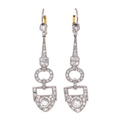Diamond Chandelier Platinum Art Deco Revival Drop Earrings Estate Fine Jewelry