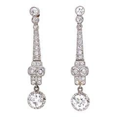 Diamond Chandelier Platinum Art Deco Revival Drop Earrings