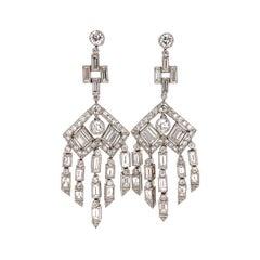Diamond Chandelier Platinum Drop Earrings Estate Fine Jewelry