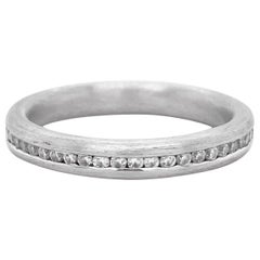 Diamond Channel Band, Brushed White Gold, Round Diamond, Stackable, Wedding Ring