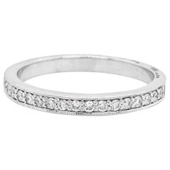 Diamond Channel Band, White Gold, .20 Carat Ring, Wedding Band, Stackable Band