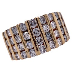 Diamond Channel Set 18 Karat Yellow Gold Band Ring
