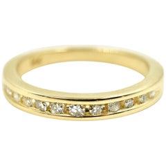 Diamond Channel Set of Wedding Band 14 Karat Yellow Gold