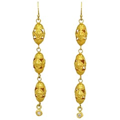 Diamond Charm and 22 Karat Gold Vintage Filigree Dangle Earrings