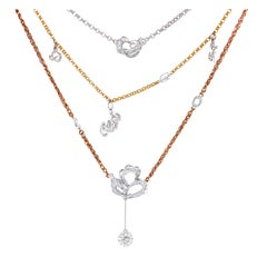 Diamond Charms and Chain Necklace in 18 Karat Rose and White Gold
