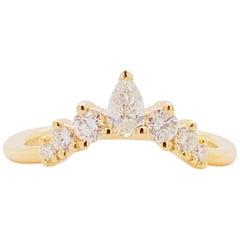 Diamond Chevron Ring, 14 Karat Gold Diamond Anniversary Band, AN15303Y44JJ