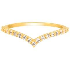 Diamond Chevron Ring in 18 Karat Gold, Diamond Engagement Ring