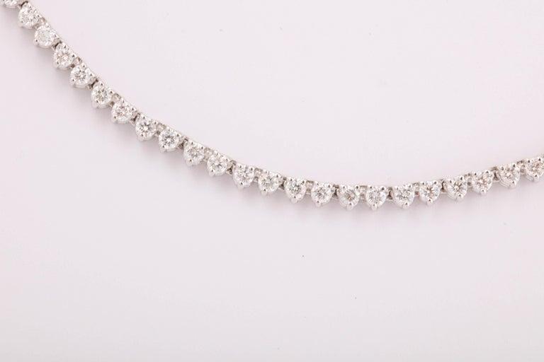 Round Cut Diamond Choker Tennis Necklace For Sale