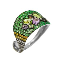Diamond Chrysolite Tsavorite Quartz White Gold Designer Fashion Cocktail Ring