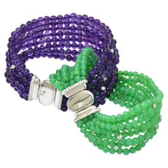 Diamond Chrysoprase Amethyst 18 KT White Gold Made in Italy Twin Bracelets