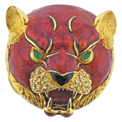 Diamond Chrysoprase Enamel Gold Panther Compact Case