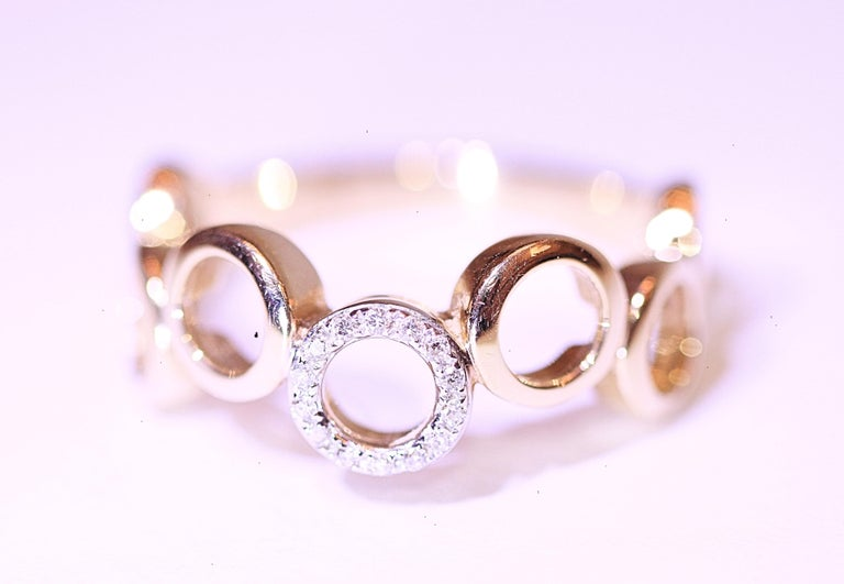 Contemporary Diamond Circle Band 14 Karat Yellow Gold For Sale