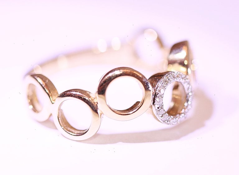 Diamond Circle Band 14 Karat Yellow Gold In New Condition For Sale In Melbourne, FL