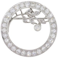 Diamond Circle Leaf Brooch