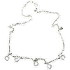 Diamond Circle Necklace 14 Karat White Gold