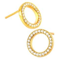 Diamond Circle Stud Earrings, 14k Gold Earrings