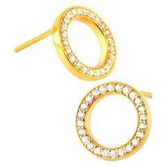 Diamond Circle Stud Earrings, 18 Karat Gold Earrings, Everyday Earrings