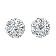 Diamond Circle Stud Earrings in 18k White Gold