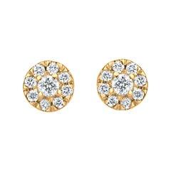 Diamond Circle Stud Earrings in 18k Yellow Gold
