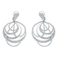 Diamond Circles Chandelier White Gold Earrings