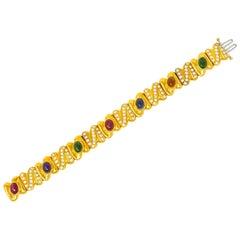Diamond Citrine Amethyst Tourmaline Multi-Gem 18 Karat Gold Link Bracelet