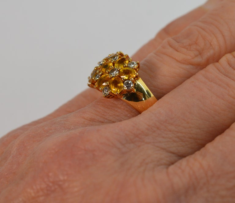 Diamond Citrine Floral Cluster 18 Karat Yellow Gold Ring For Sale 1