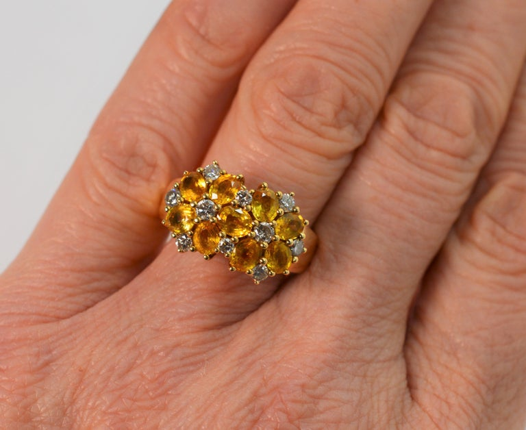 Women's Diamond Citrine Floral Cluster 18 Karat Yellow Gold Ring For Sale