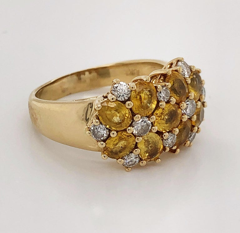 Mixed Cut Diamond Citrine Floral Cluster 18 Karat Yellow Gold Ring For Sale
