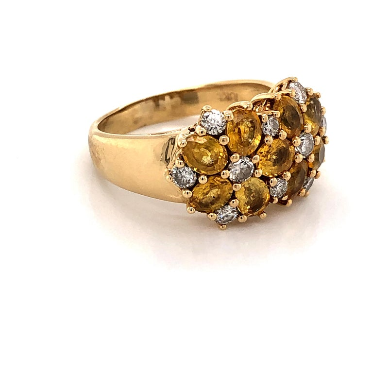 Diamond Citrine Floral Cluster 18 Karat Yellow Gold Ring For Sale 2
