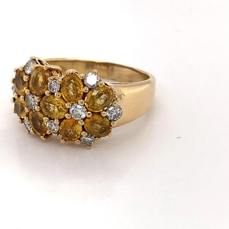 Diamond Citrine Floral Cluster 18 Karat Yellow Gold Ring For Sale 3