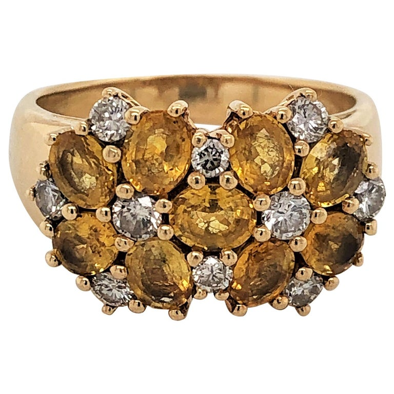 Diamond Citrine Floral Cluster 18 Karat Yellow Gold Ring For Sale