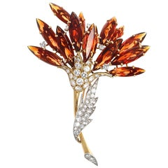 Diamond Citrine Gold Bouquet Brooch