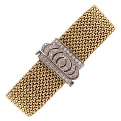 Diamond Clasp Woven Flexible 14 Karat Two Tone Link Gold Bracelet