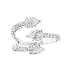 Diamond Claw Ring in 14K White Gold with 1 Carat Pear Diamonds IGI Certified
