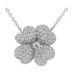 Diamond Clover 1.96 Carats Necklace 18k White Gold