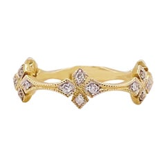 Diamond Clover Band 14 Karat Gold Fashion Diamond Stackable Band 0.16 Carat