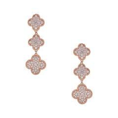 Diamond Clover Drop Earrings