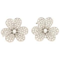 Diamond Clover Earrings Set in 18k White Gold