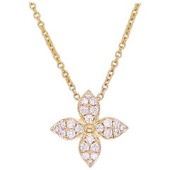Diamond Clover Necklace, 14 Karat Gold, Neckmess, Stackable Necklace, Flower
