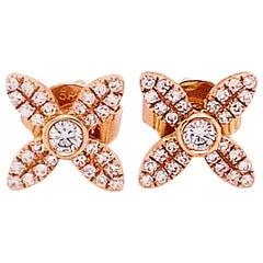 Diamond Clover Rose Gold Stud Earrings .16 Carat Diamond 14K Gold Earring Studs