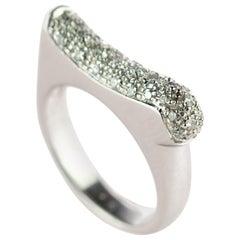 Diamond Cluster 18 Karat White Gold Band Semi Square Geometric Cocktail Ring