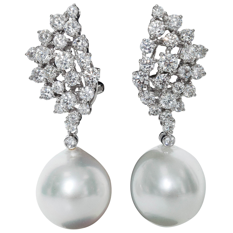 Diamond Cluster and Pearl Dangle Earrings