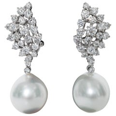 Diamond Cluster and Pearl Dangle Earrings